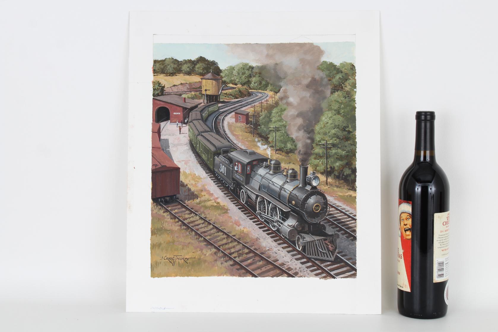 """J. Craig Thorpe (B. 1948) """"Indiana Locomotive"""" Oil - Image 2 of 5"""