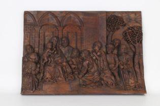 Antique Carved Wood European Nativity Scene