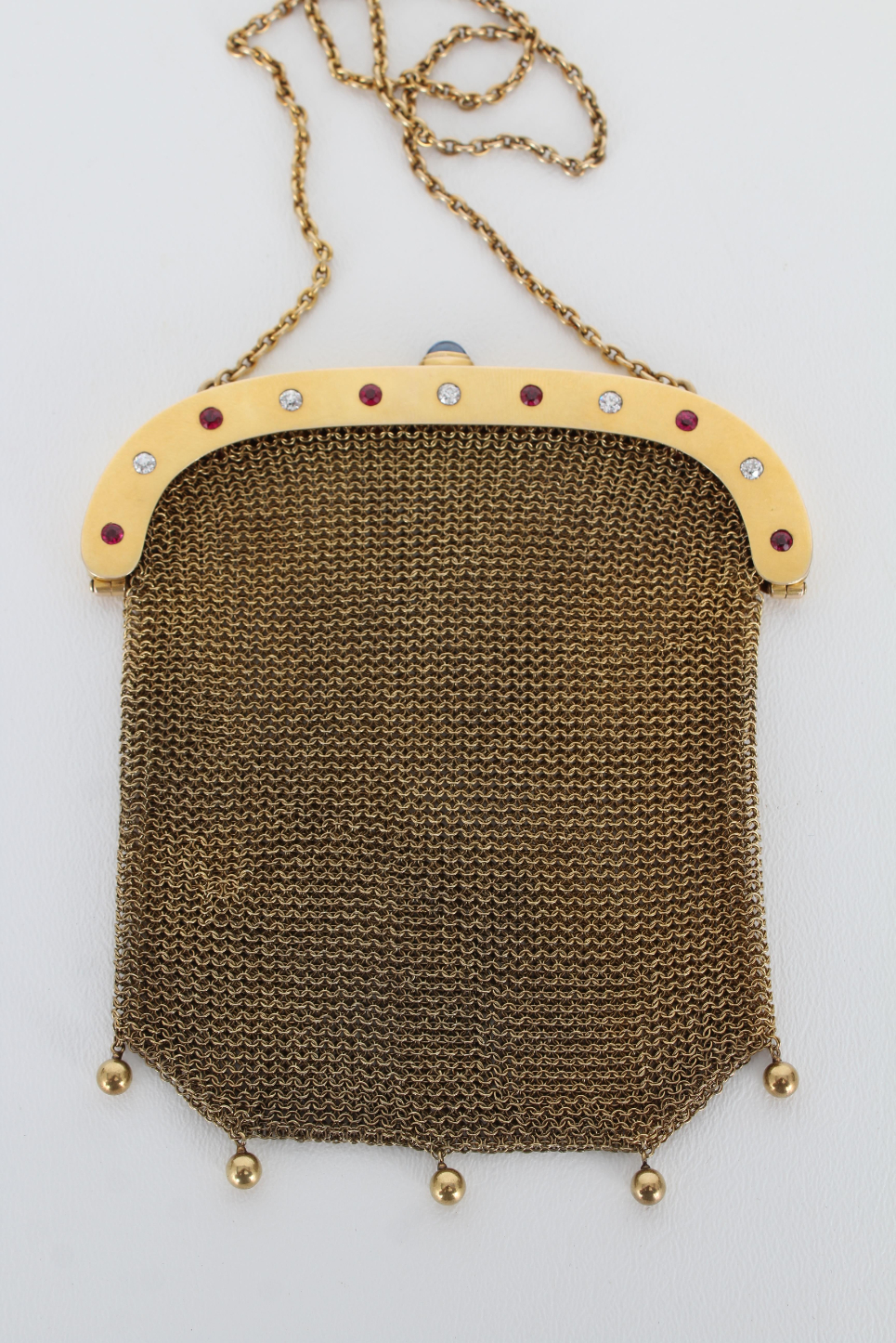 14K Gold Mesh Coin Purse w/ Diamond & Ruby Clasp - Image 2 of 6