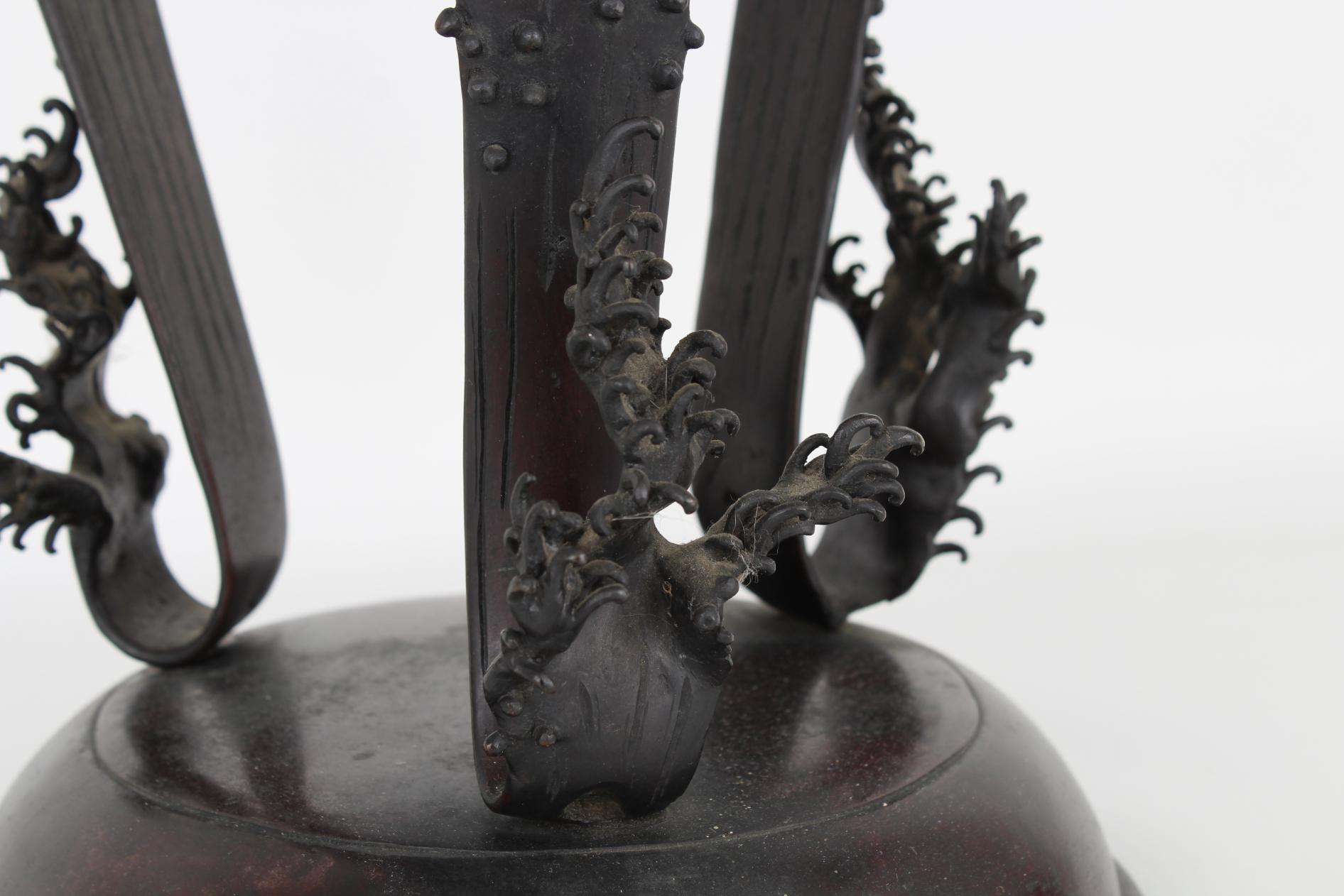 Large Bronze Tri-Footed Dragon Censer - Image 5 of 6