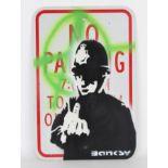 Banksy Style Parking Sign Urban Graffiti Painting