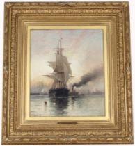 "Edward Moran (1829-1901) ""Summer Morning New York"""