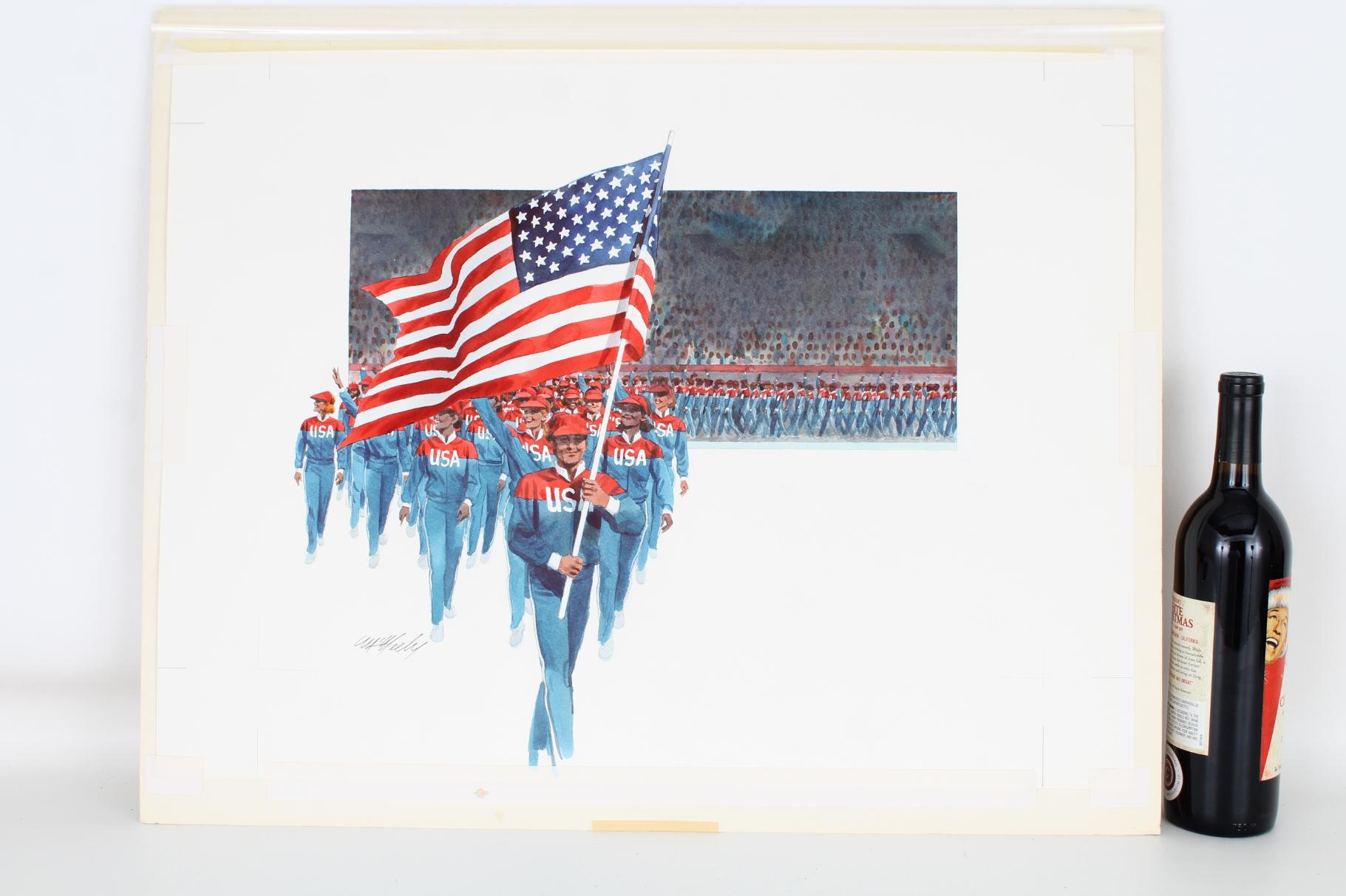 "Tom McNeely (B. 1935) ""Flag American Olympic Team"" - Image 2 of 4"