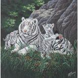 """R.G. Finney (B. 1941) """"White Siberian Tiger"""""""