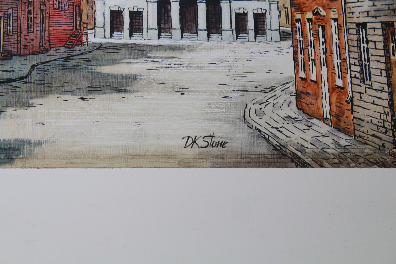 "David K Stone (1922-2001) ""Federal Hall NYC"" Oil - Image 3 of 4"