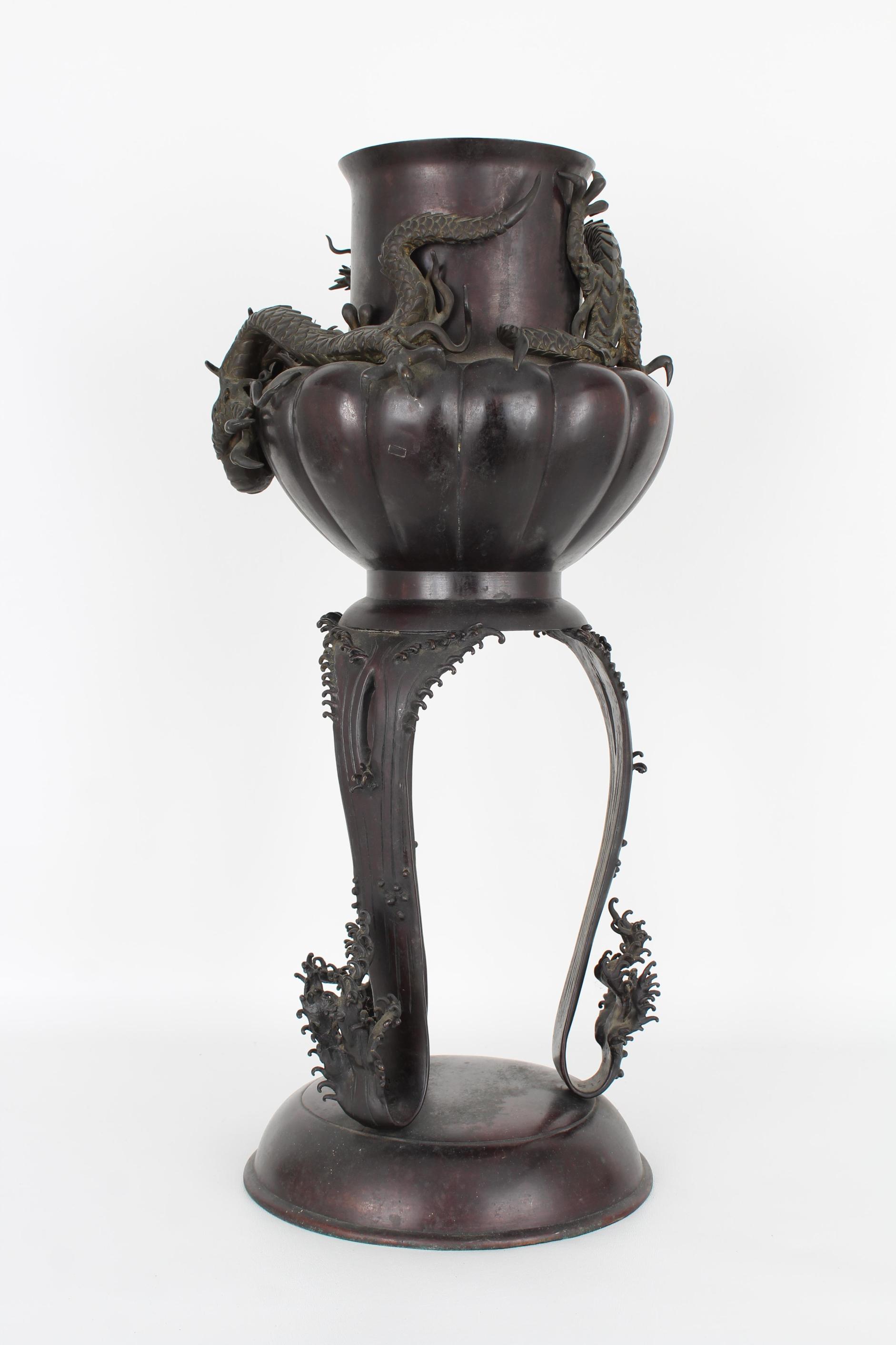 Large Bronze Tri-Footed Dragon Censer - Image 6 of 6