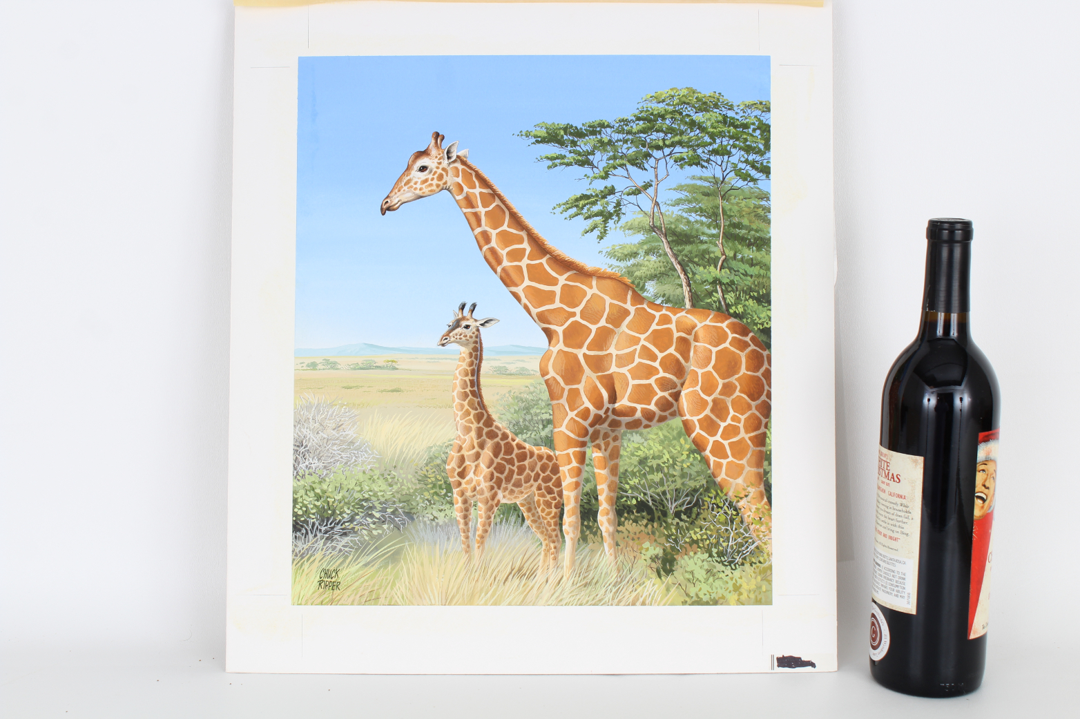 "Chuck Ripper (B. 1929) ""Two Giraffes"" - Image 2 of 4"