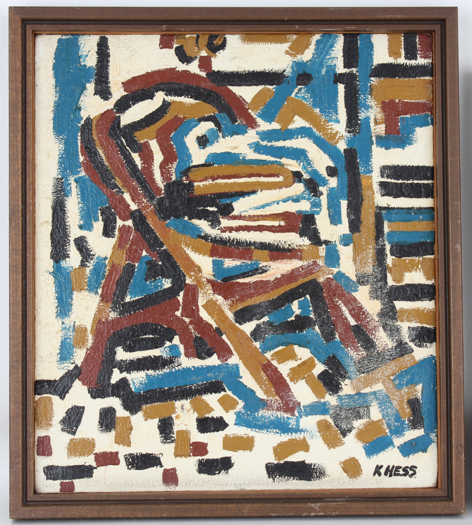 (2) Hess, Mid Century Abstract Paintings - Image 2 of 5