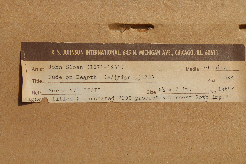 John Sloan (1871 - 1951) Nude Etching - Image 4 of 4