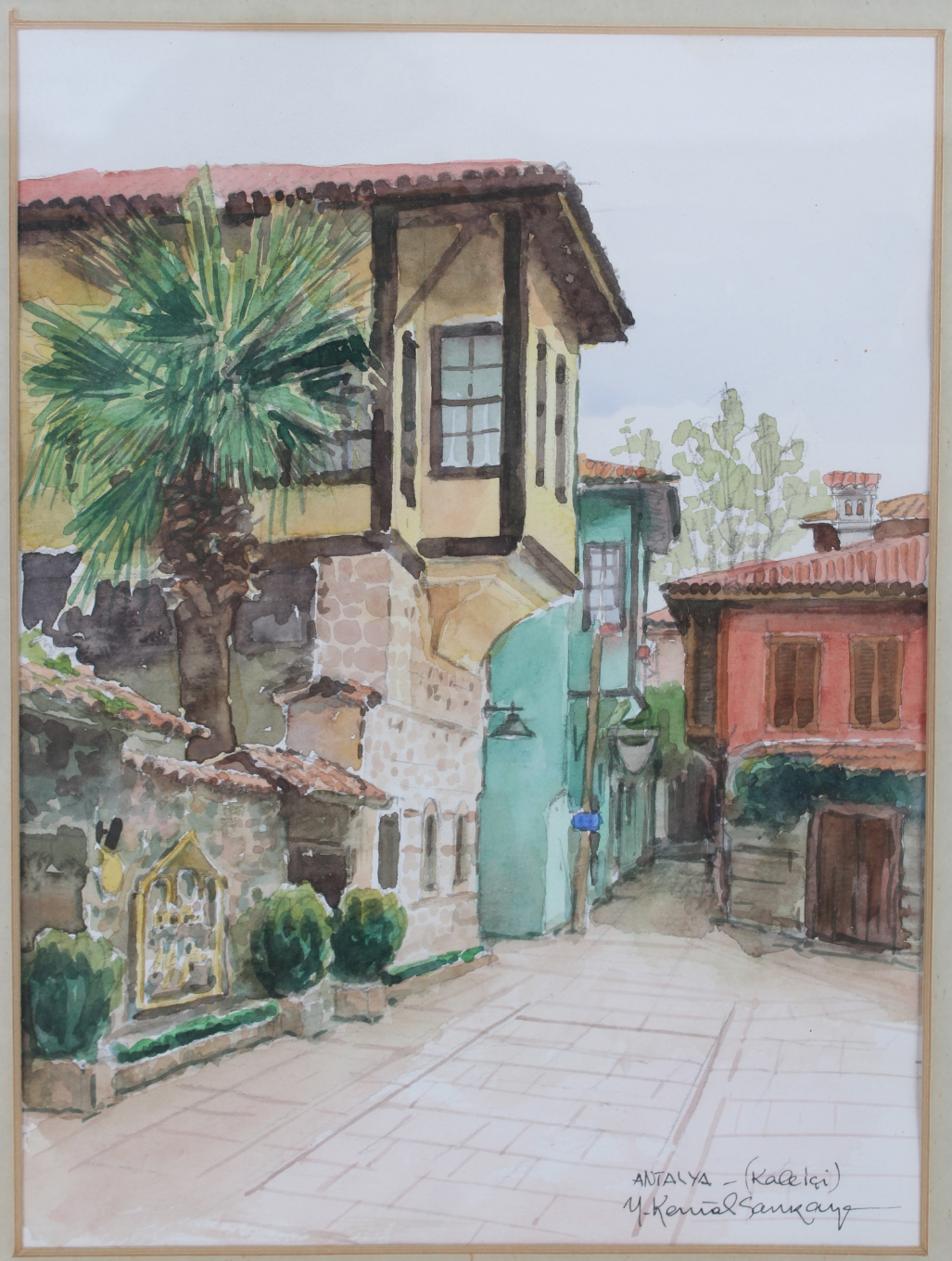 Signed Russian Watercolor of Courtyard