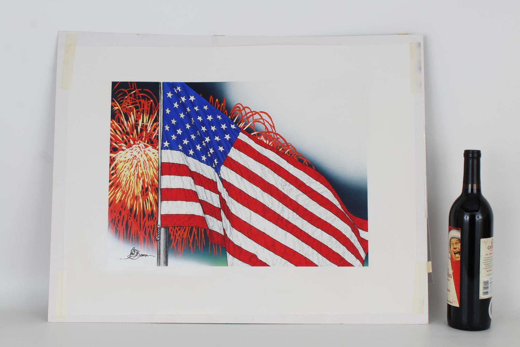 """John Benson (B. 1949) """"US Flag & Fireworks"""" Oil - Image 4 of 4"""