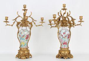18th C. Chinese Porcelain/Gilt Bronze Candelabra