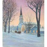 "Jim Butcher (B. 1944) ""Church in the Winter"" Oil"