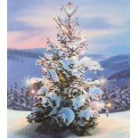 "Ed Little (B. 1957) ""Christmas Tree Mountains"" Oil"