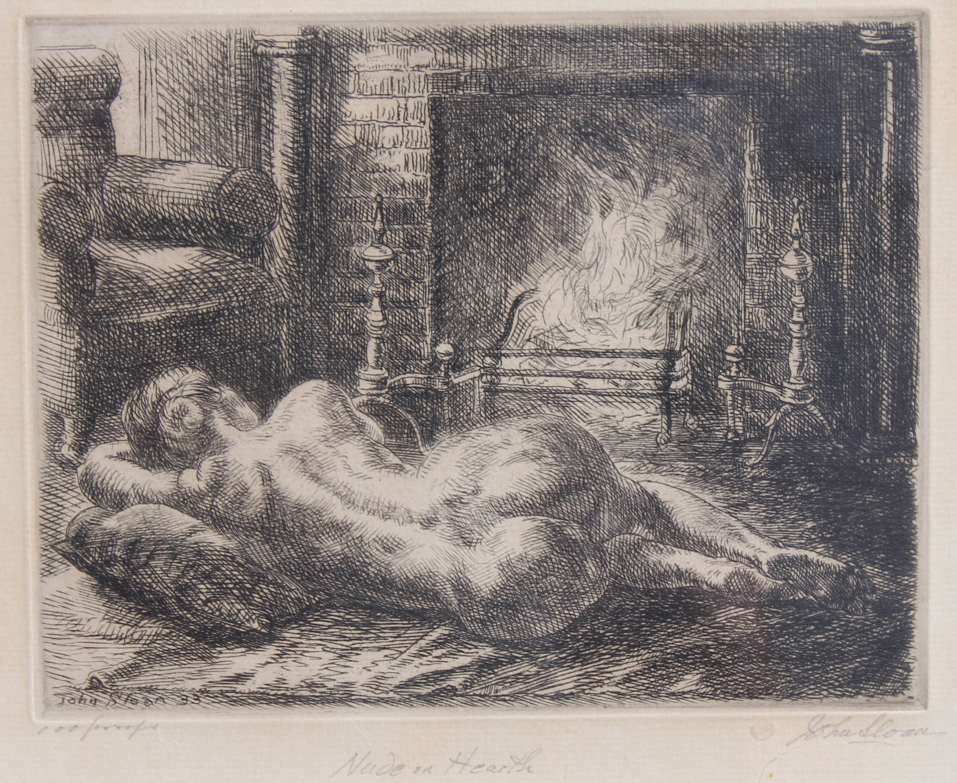 John Sloan (1871 - 1951) Nude Etching