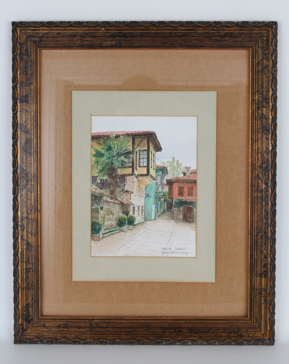 Signed Russian Watercolor of Courtyard - Image 2 of 3