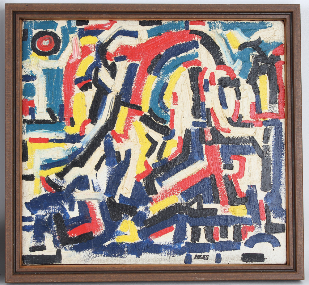 (2) Hess, Mid Century Abstract Paintings - Image 3 of 5