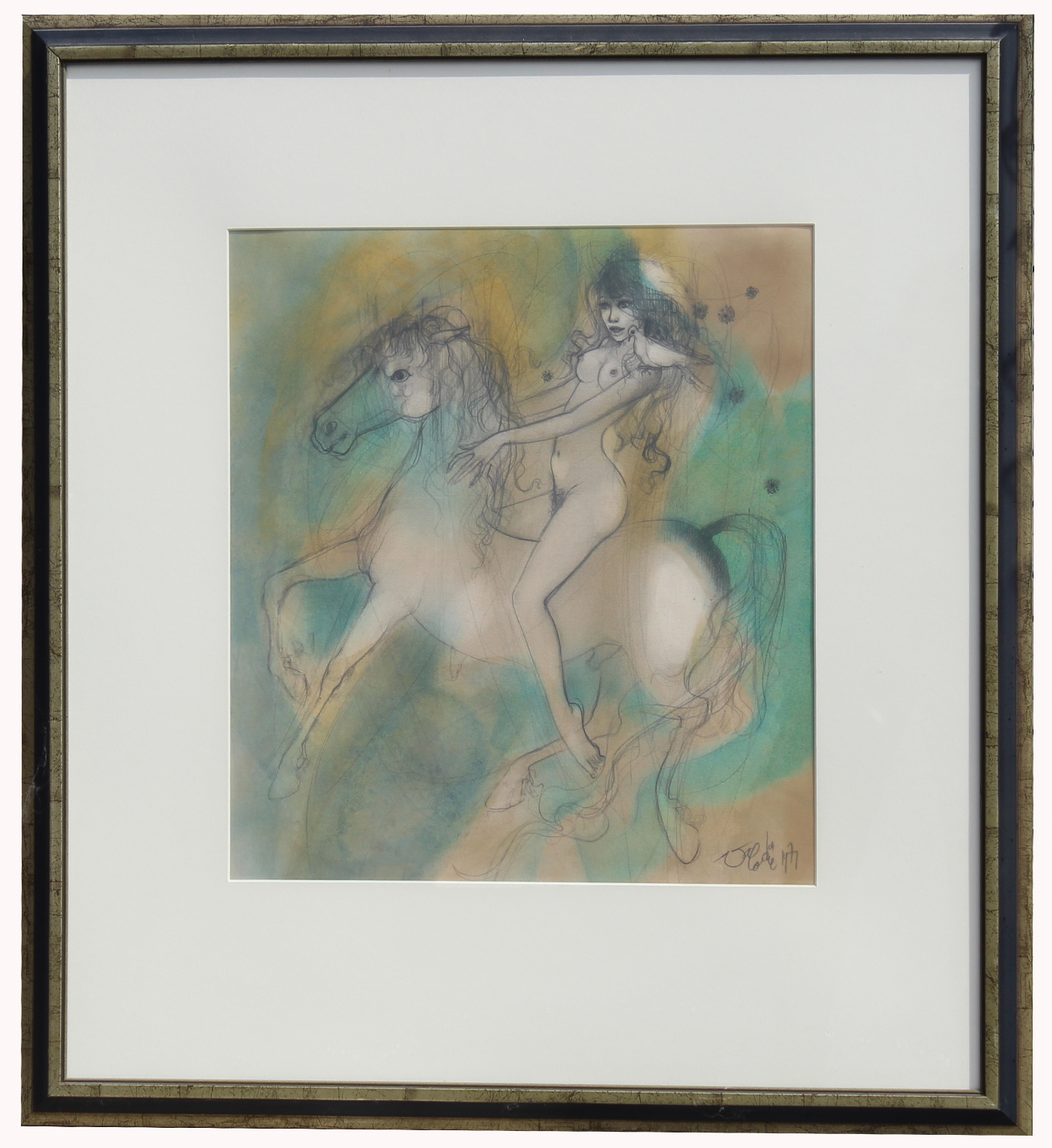 Signed 20th C. French Watercolor Painting
