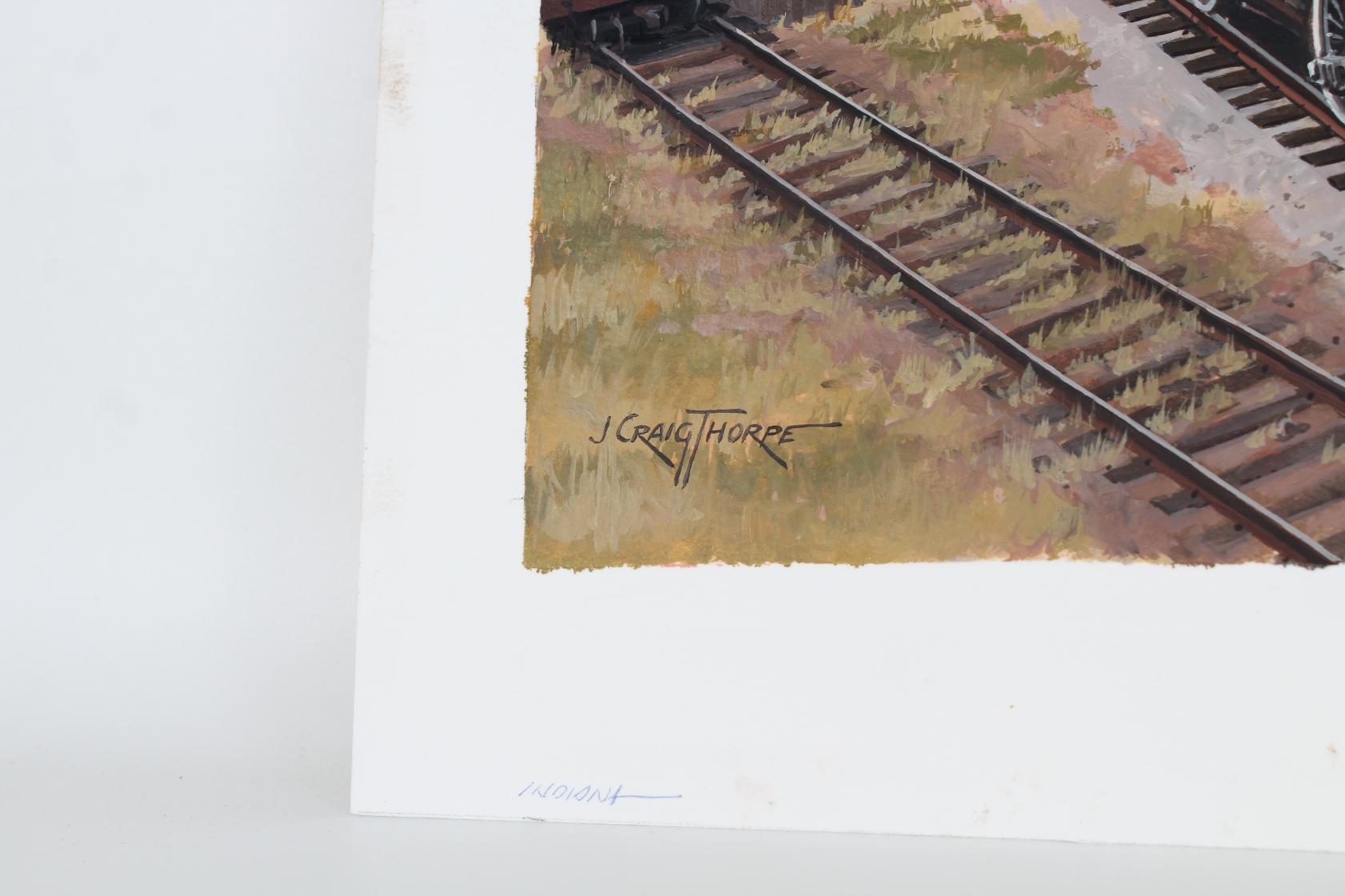 """J. Craig Thorpe (B. 1948) """"Indiana Locomotive"""" Oil - Image 4 of 5"""