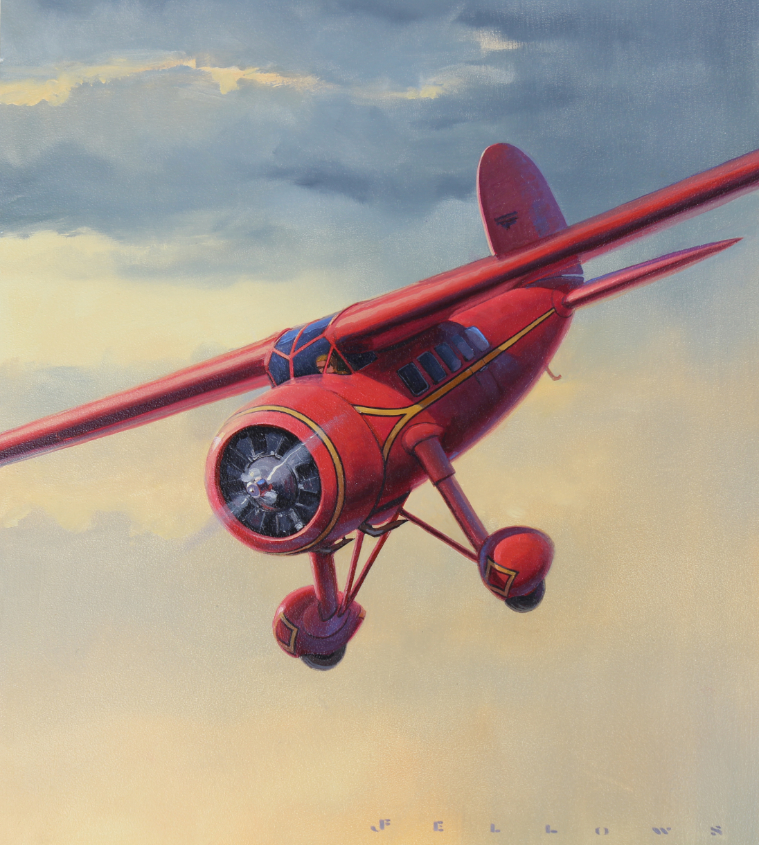 "Jack Fellows (B 1941) ""Lockheed Vega Airplane"" Oil"