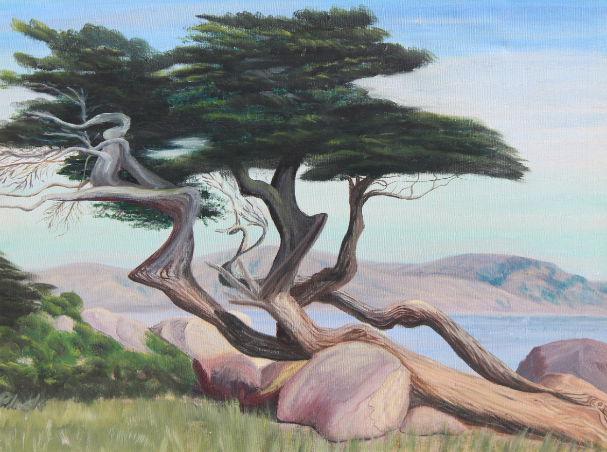 Signed, 20th C. Painting of a Monterey Cypress - Image 2 of 4