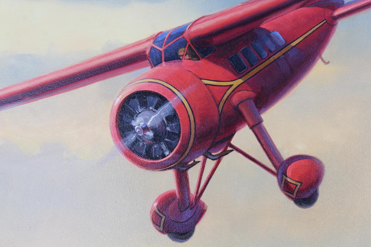 "Jack Fellows (B 1941) ""Lockheed Vega Airplane"" Oil - Image 3 of 5"