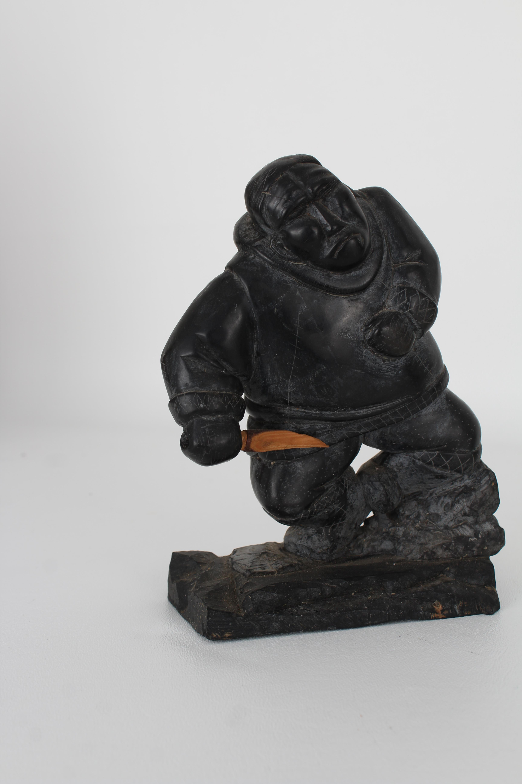 (3) Carved Stone Inuit Figures, Signed - Image 2 of 7