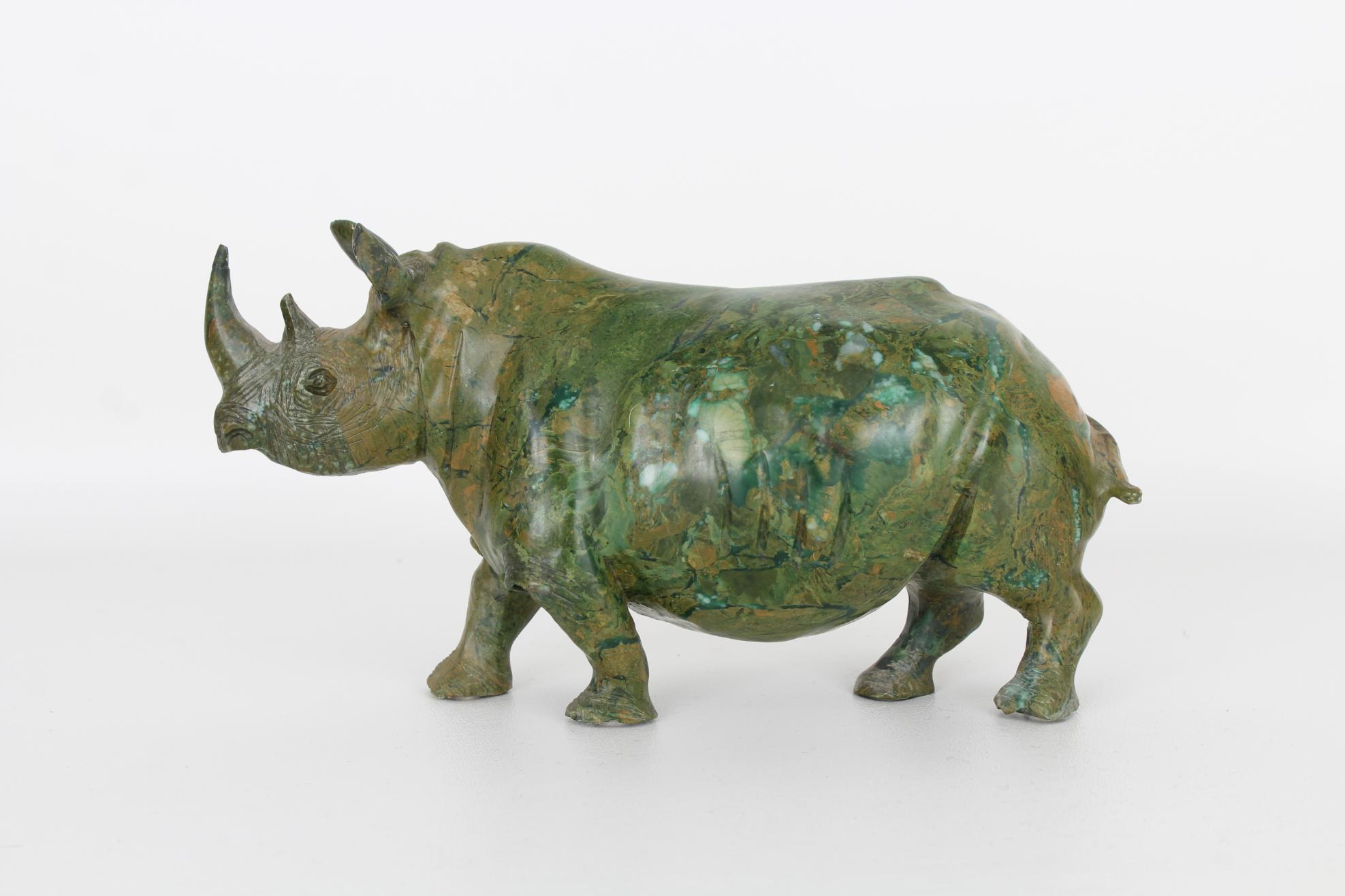 Vintage Carved Marble Rhinoceros