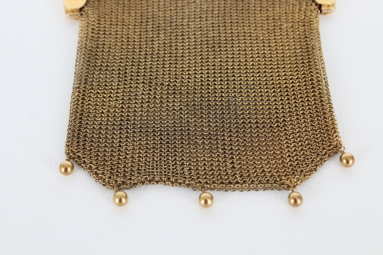 14K Gold Mesh Coin Purse w/ Diamond & Ruby Clasp - Image 4 of 6