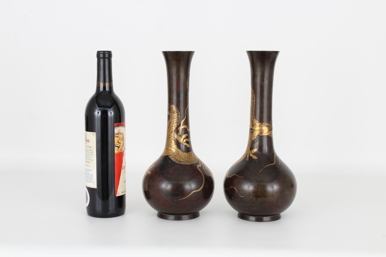 (2) Antique Bronze/Gold Japanese Dragon Vases - Image 5 of 7