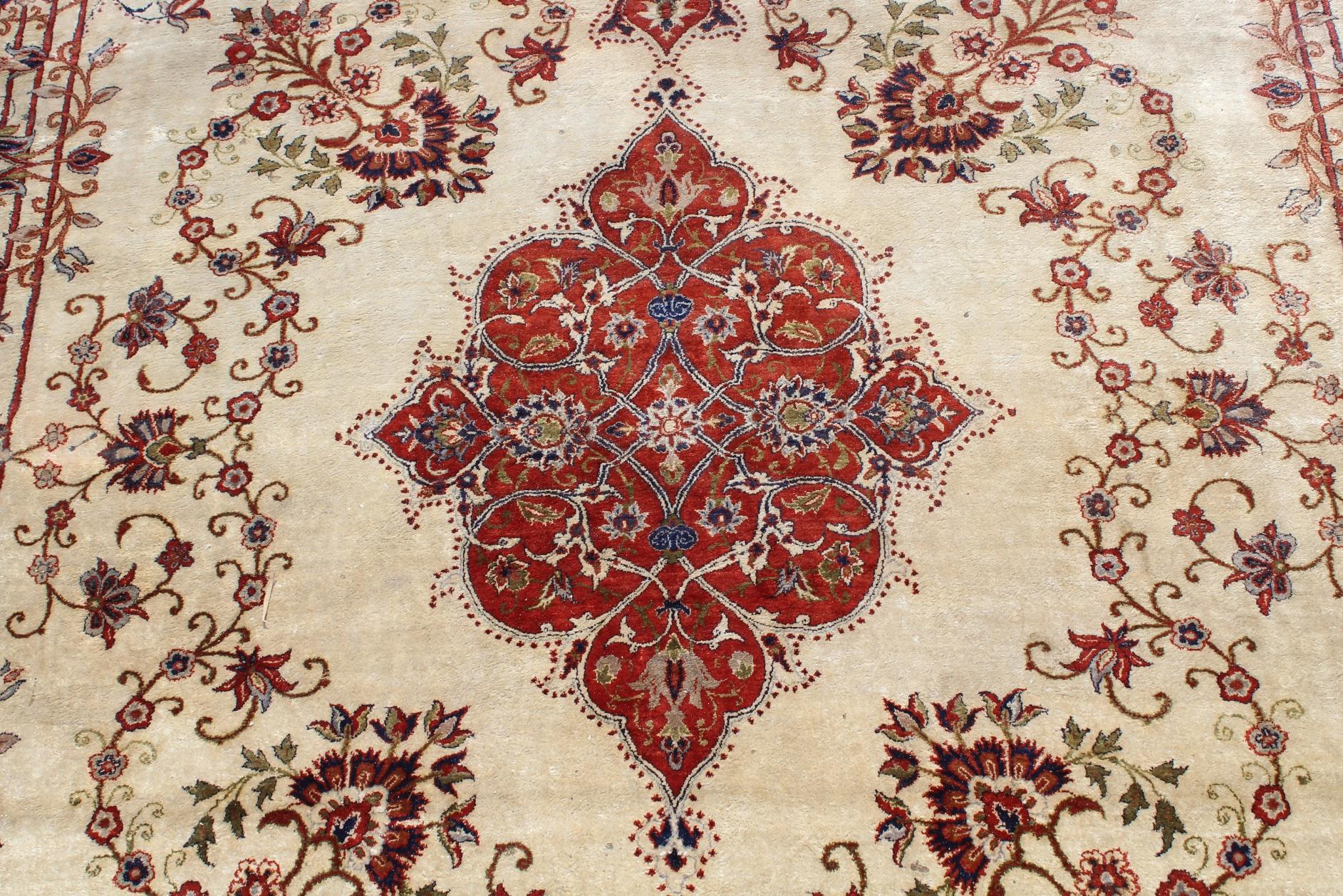 Signed, Antique Persian Silk Qum Rug - Image 2 of 4