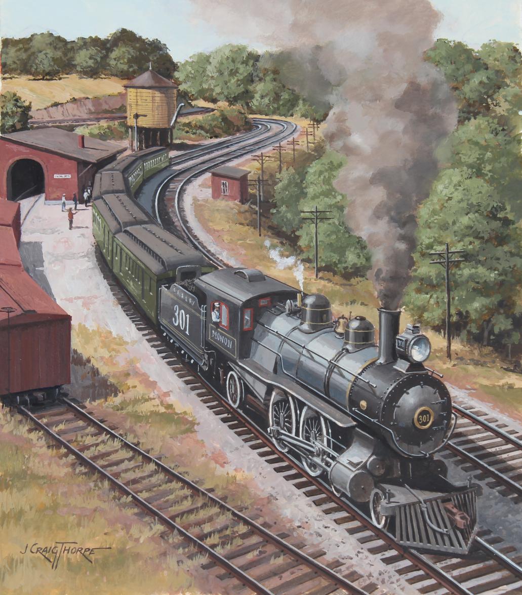 """J. Craig Thorpe (B. 1948) """"Indiana Locomotive"""" Oil"""