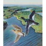 "Ivan Kozlov (B. 1937) ""Tufted Duck"" Watercolor"