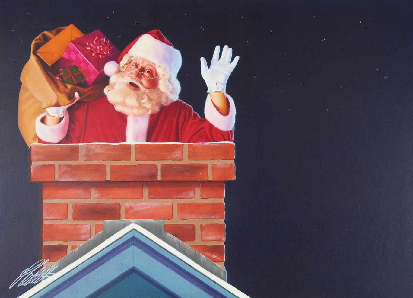 "Ed Little (B. 1957) ""Santa Claus"" Original Oil"