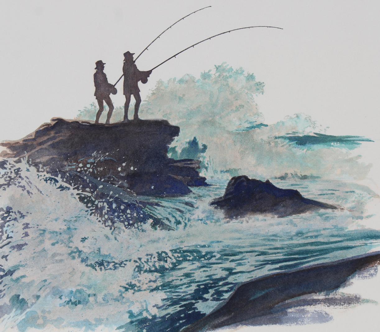 "Brian Clinton (B. 1942) ""Surf and Rock Fishing"" WC"