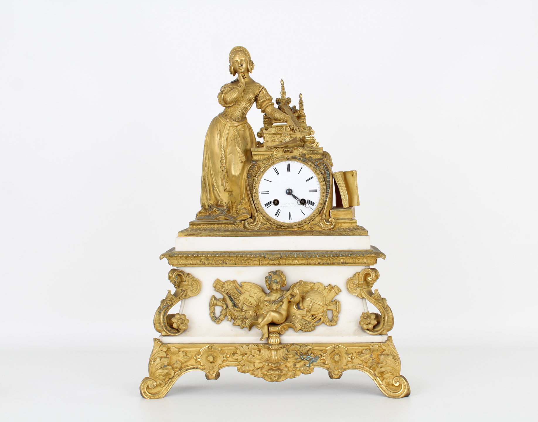 Antique Gilt Bronze French Mantel Clock