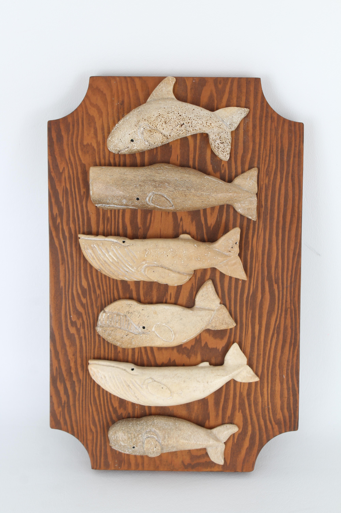 (6) Carved Stone Whale Figures
