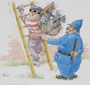 "Basil Smith (B. 1925) ""The Laughing Policeman"" W/C"