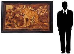 Monumental French Marquetry Jaguar Panel