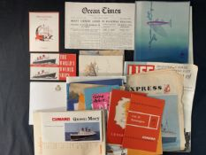 CUNARD: Mixed collection of Queen Mary related printed ephemera.