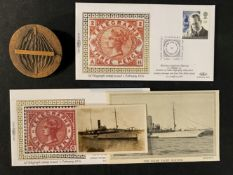 OCEAN LINER: Guglielmo Marconi collectables including photograph and postcard of his Yacht Elettra