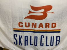 OCEAN LINER: White ground Cunard 'Skald Club' flags. (2) 34ins. x 60ins.