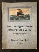 OCEAN LINER: Kronprinzessin Cecilie folding colour promotional cutaway plan. 10½ins. x 8ins. (