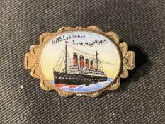 CUNARD: Rare Cunard R.M.S. Lusitania post-sinking memorial brass and enamel pictorial brooch, enamel