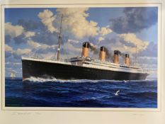 R.M.S. TITANIC: Ken Marschall limited edition print of Titanic signed by the artist, and survivor