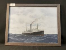 WHITE STAR LINE: Original work by Neil Egginton of White Star's first Laurentic. She is slowly