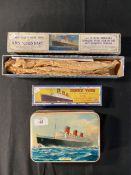 OCEAN LINER: Dinky Toys No. 52A. Cunard White Star liner Queen Mary (boxed). Unique 'Take to Pieces'