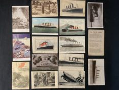 CUNARD: R.M.S. Lusitania postcards to include unusual bas-relief and an example signed by