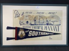 MARITIME: H.M.S. Southampton British nautical pennant, framed and glazed, formerly the property of
