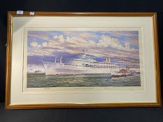 OCEAN LINER: Limited edition print, signed by Rodney Charman, Queen Mary II plus Canberra inbound to